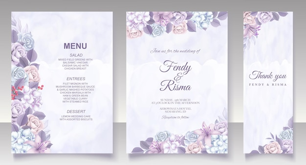 Cartão de casamento modelo floral elegante