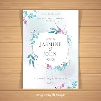 Cartão de casamento moderno com folhas de aquarela