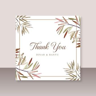Cartão de casamento obrigado com folhagem aquarela