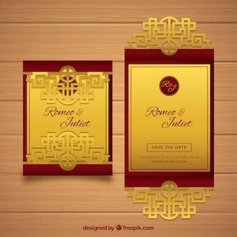 Cartão de casamento oriental