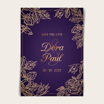Cartão de casamento ornamental com rosas de ouro