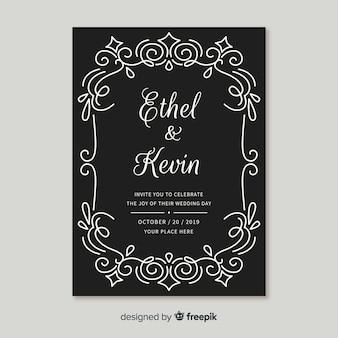 Cartão de casamento ornamental vintage elegante