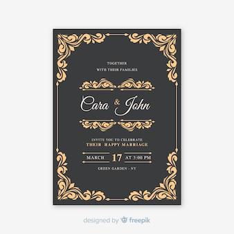 Cartão de casamento ornamental vintage
