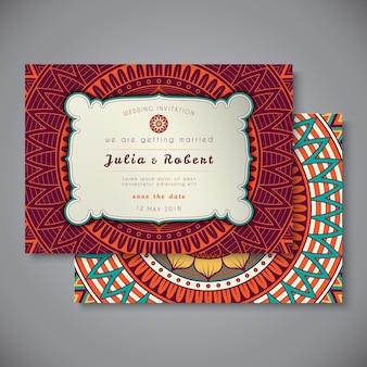 Cartão de casamento ou convite. elementos decorativos vintage.