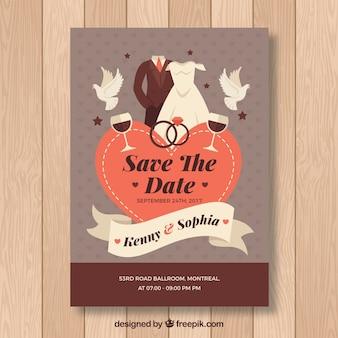 Cartão de casamento plano com estilo lindo