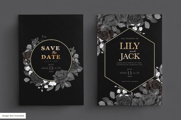 Cartão de casamento preto com floral escuro