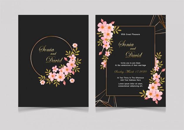 Cartão de casamento preto rosa flor linhas de ouro