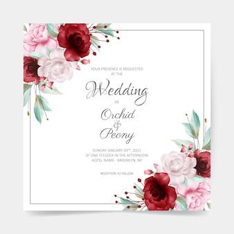 Cartão de casamento quadrado com decoração em aquarela borda floral