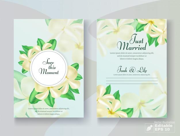 Cartão de casamento romântico conjunto com flor