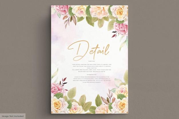 Cartão de casamento romântico em aquarela de rosas brancas
