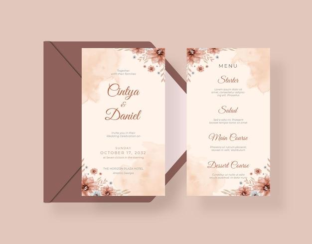 Cartão de casamento rústico com lindas flores no estilo boho