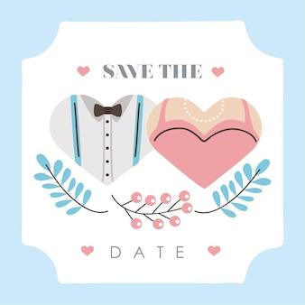 Cartão de casamento salvar a data com terno de noivo e vestido de noiva em corações