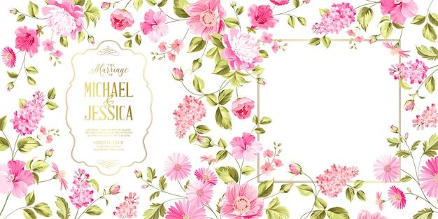Cartão de casamento seringa primavera