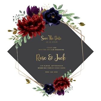 Cartão de casamento texto dourado borgonha