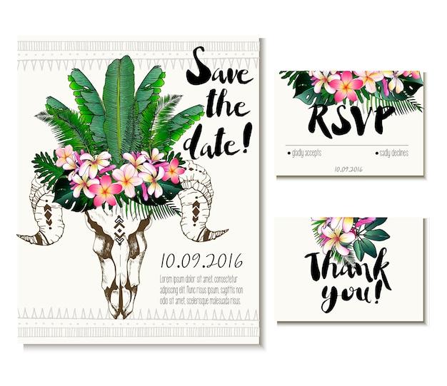 Cartão de casamento vetor definido no estilo boho na moda