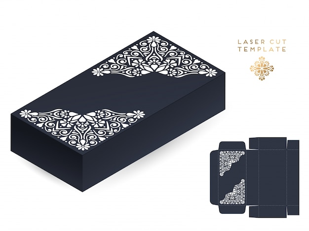 Cartão de casamento vetorial caixa de modelo de corte a laser
