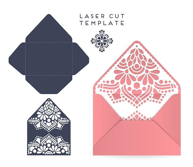 Cartão de casamento vetorial modelo de corte a laser