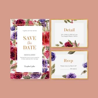 Cartão de casamento vinho floral com rosa, ilustração em aquarela lisianthus