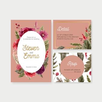 Cartão de casamento vinho floral com rowan, rosa ilustração aquarela