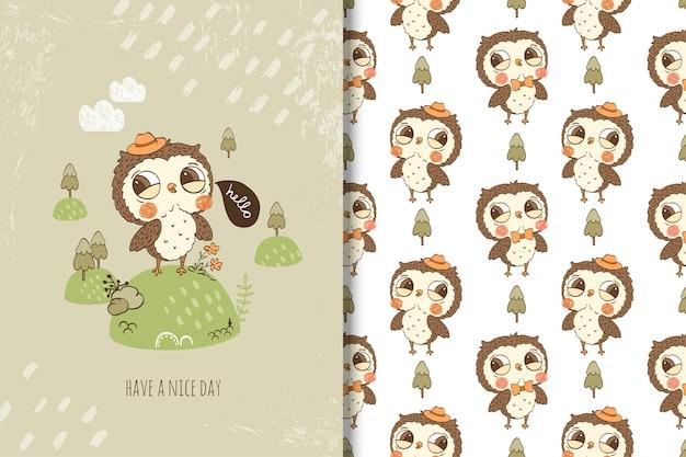 Cartão de cavalheiro coruja bonito e padrão sem emenda
