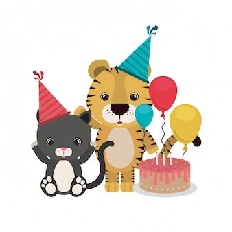 Cartão de celebração com animais em branco