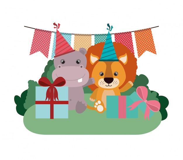 Cartão de celebração com animais