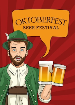 Cartão de celebração da oktoberfest com alemão bebendo cerveja