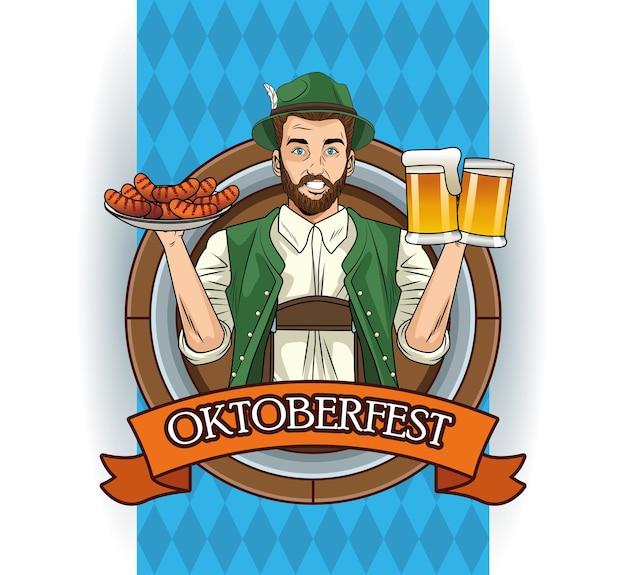 Cartão de celebração da oktoberfest com um alemão levantando cervejas e salsichas