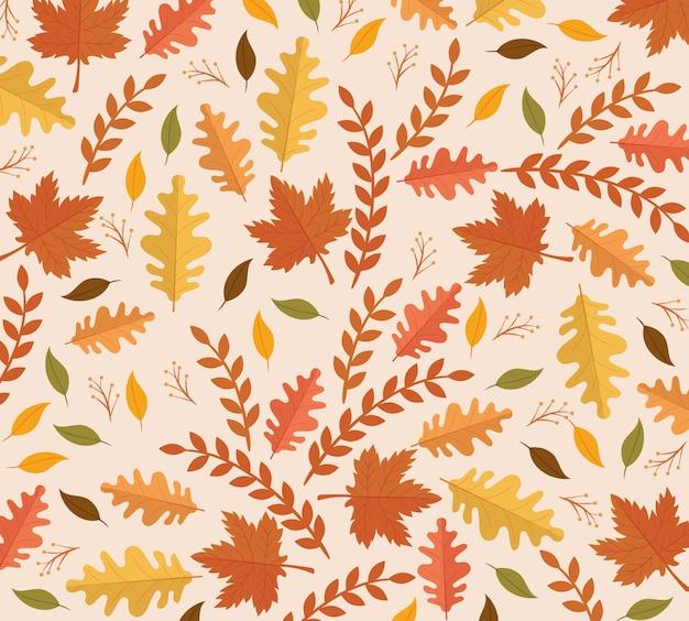 Cartão de celebração de ação de graças feliz com design de ilustração de padrão de folhas