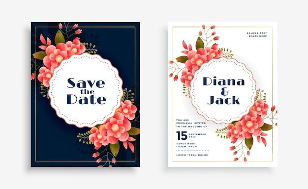 Cartão de celebração de casamento com decoração de flores