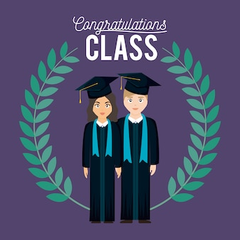 Cartão de celebração de classe de formatura com casal graduado