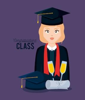 Cartão de celebração de classe de formatura com garota graduada