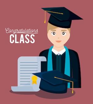 Cartão de celebração de classe de formatura com menino graduado