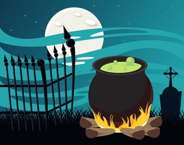 Cartão de celebração de feliz dia das bruxas com caldeirão e cerca no cemitério.