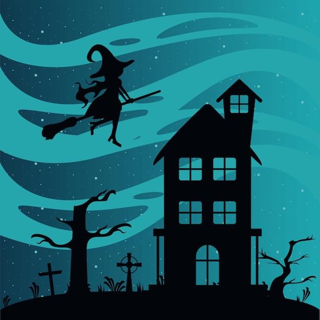 Cartão de celebração de feliz dia das bruxas com casa assombrada e bruxa voando.
