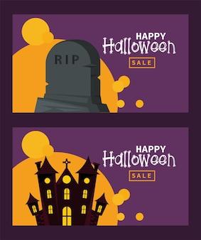 Cartão de celebração de feliz dia das bruxas com castelo assombrado e lápide