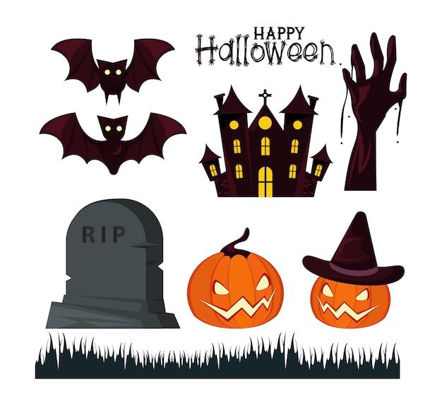 Cartão de celebração de feliz dia das bruxas com letras e ícones