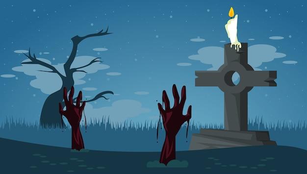 Cartão de celebração de feliz dia das bruxas com mãos de zumbis no cemitério de tumbas