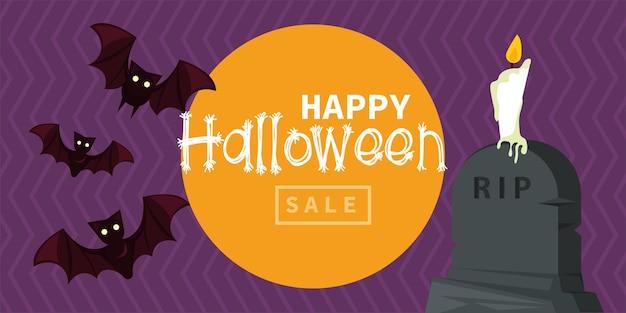 Cartão de celebração de feliz dia das bruxas com morcegos voando e velas na tumba