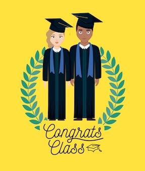 Cartão de celebração de formatura com casal graduado e coroa