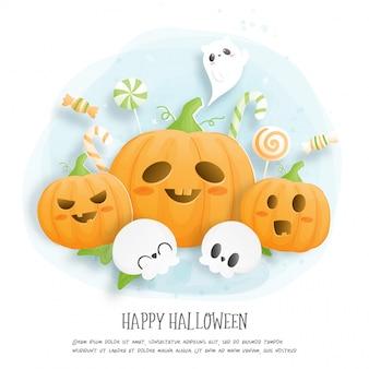 Cartão de celebração de halloween com abóbora e fantasma.