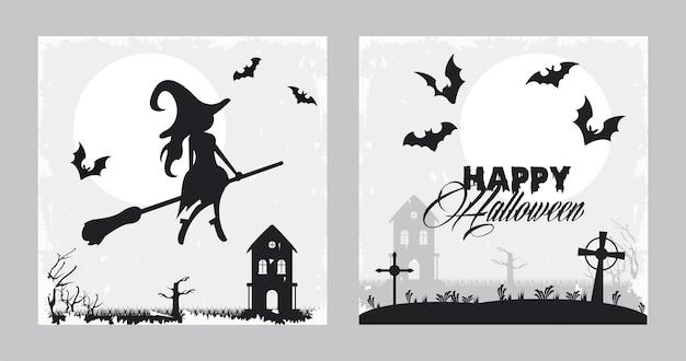 Cartão de celebração de halloween feliz com bruxa e morcegos voando.
