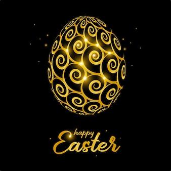 Cartão de celebração de páscoa feliz com ovo de páscoa decorado de ouro.