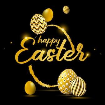 Cartão de celebração de páscoa feliz com ovos de páscoa decorados em ouro.
