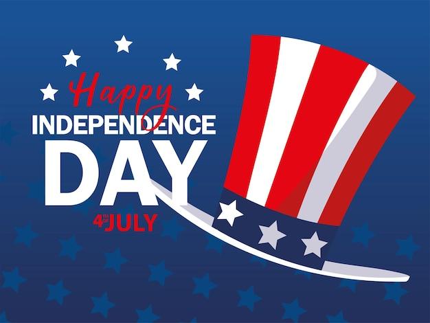 Cartão de celebração do dia da independência dos eua