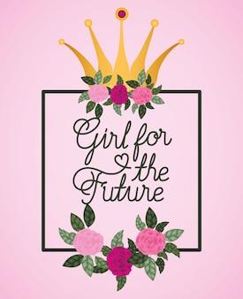 Cartão de celebração do dia da mulher com rosas e coroa