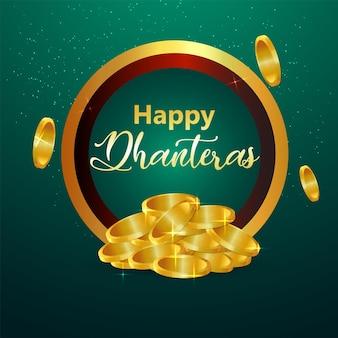Cartão de celebração do feliz dhanteras do festival indiano