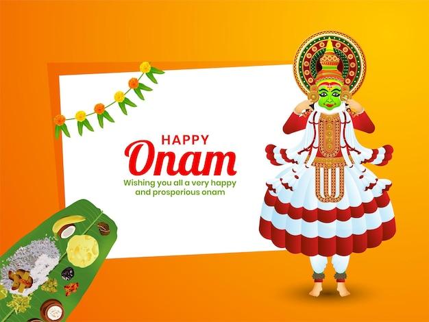 Cartão de celebração do festival indiano onam feliz, banner, design de vetor de design de cartaz.