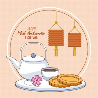 Cartão de celebração do meio do outono com biscoitos e cena de chá