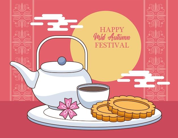 Cartão de celebração do meio do outono com biscoitos e chá à noite